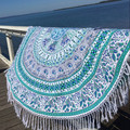 Summer Round Beach Towel Bohemian Style Roundie Hippie Tassel Tapestry Beach Throw Mandala Towel  Bohemian Sofa Cushion Yoga Mat