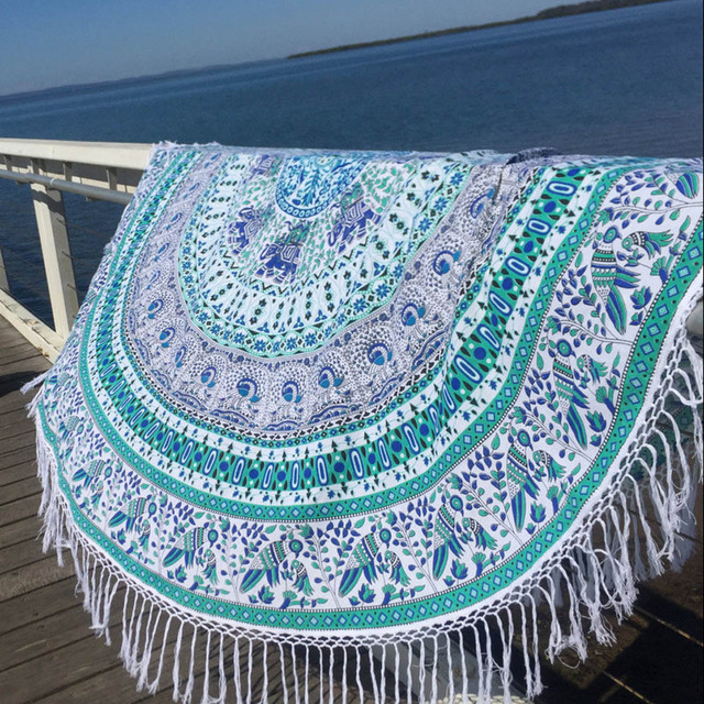 Summer Round Beach Towel Bohemian Style Roundie Hippie Tassel Tapestry Beach Throw Mandala Towel  Bohemian Sofa Cushion Yoga Mat