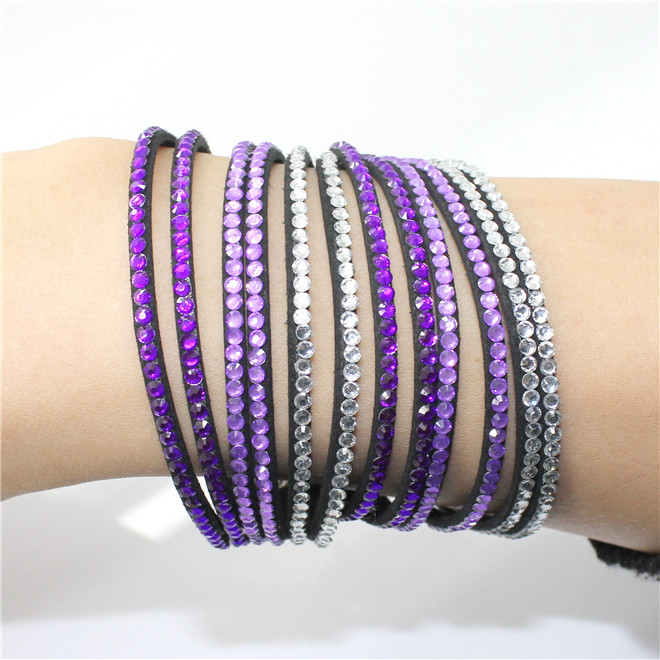 Fashion 6 Layer Wrap Bracelets Slake Leather Bracelets With Crystals Couple Jewelry womans bracelet 18
