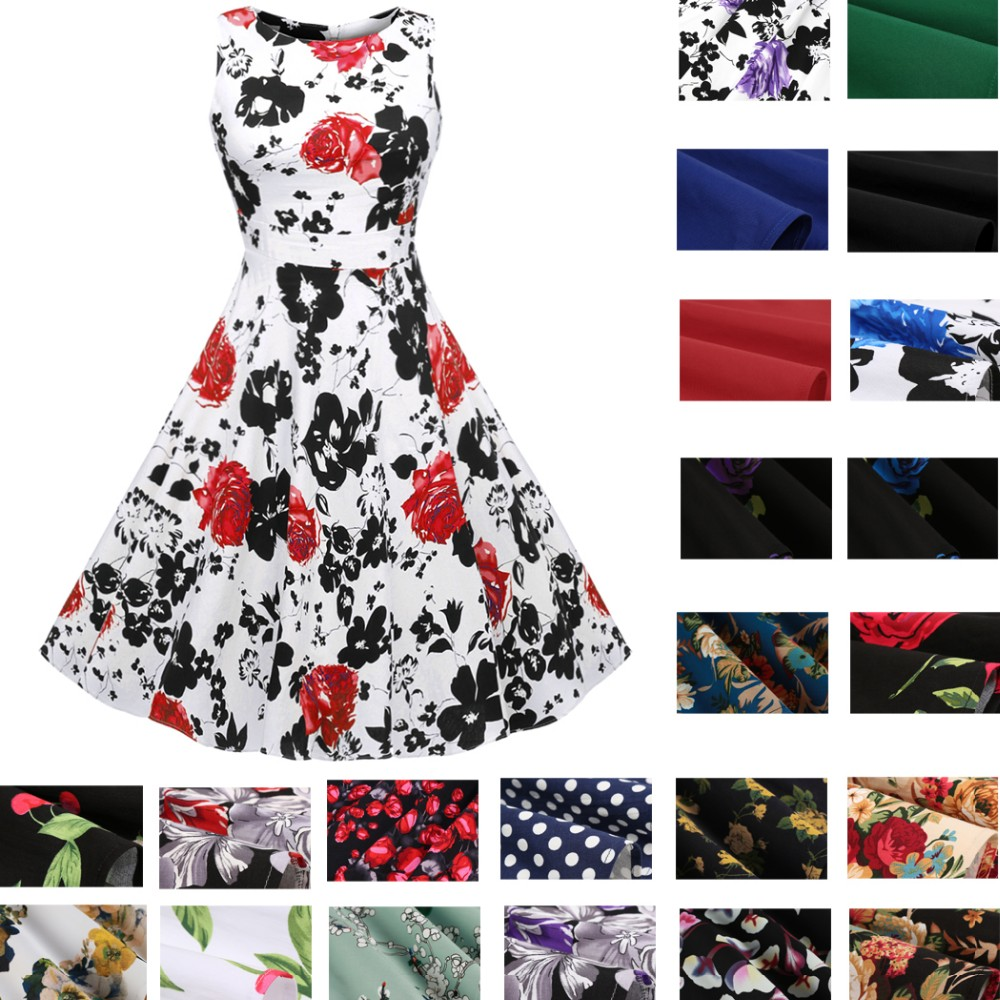 ACEVOG Women Dress Retro Vintage 1950s 60s Rockabilly Floral Swing Summer Dresses Elegant Bow-knot Tunic Vestidos Robe Oversize 8