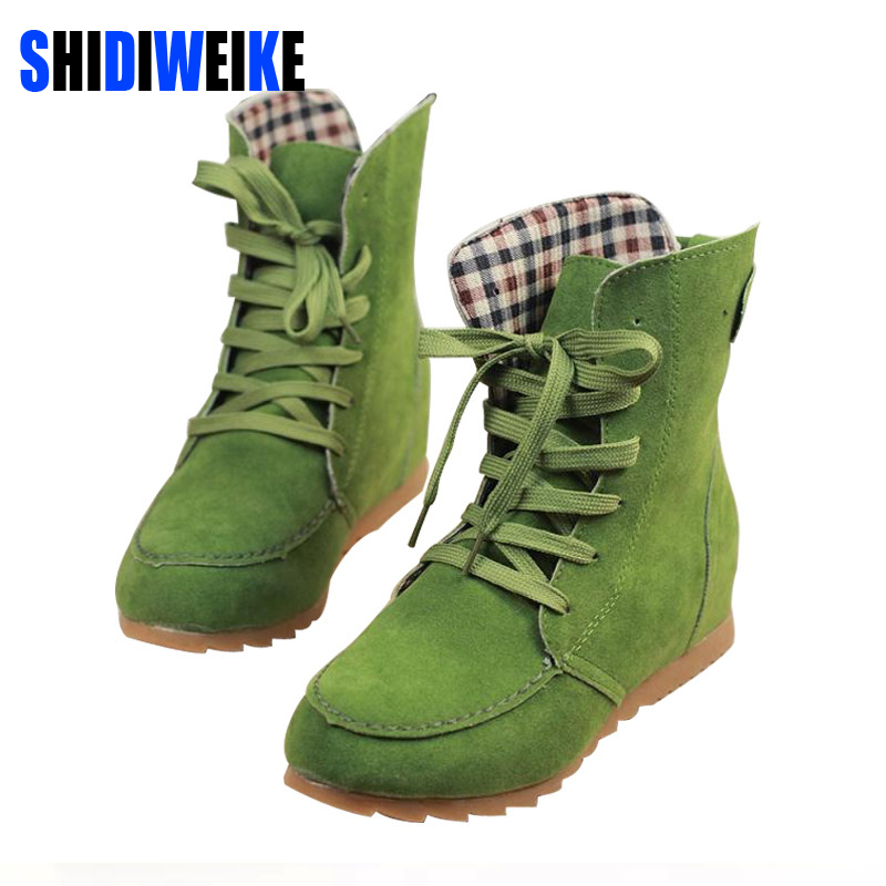Hot 2019 Ladies Boots Round Toe Flat Shoes boots Woman Boots Solid Lace Up Womens Casual Shoes Comfort Autumn Shoes B118Hot 2019 Ladies Boots Round Toe Flat Shoes boots Woman Boots Solid Lace Up Womens Casual Shoes Comfort Autumn Shoes B118