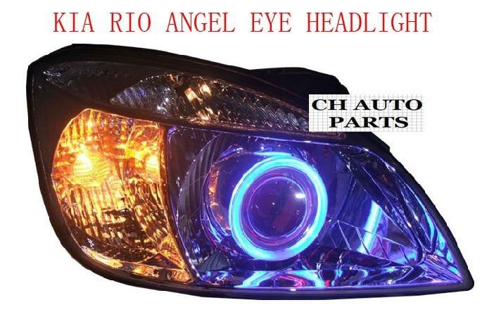 Старая версия KIA RIO ANGEL EYE фары в сборе, со сглаза и BI-XENON проектор