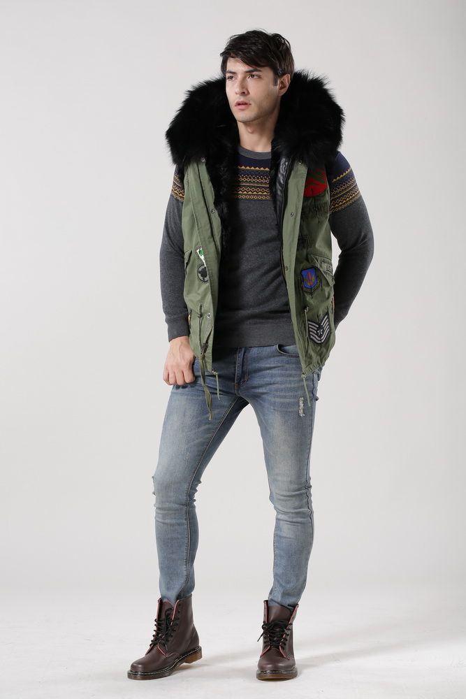 Fur Trimmed Green Jacket With Bead Removable Sleeve In Leather, Unisex Fashion Parka