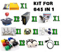 1 kit for 645 in 1 multi game board arcade game machine, power supply, speaker, joystick buttons with coin acceptor