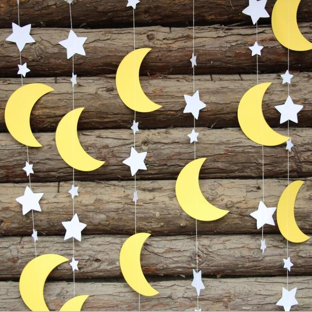 i love you to the moon and back decorations white yellow moon stars garland baby shower decor. Black Bedroom Furniture Sets. Home Design Ideas