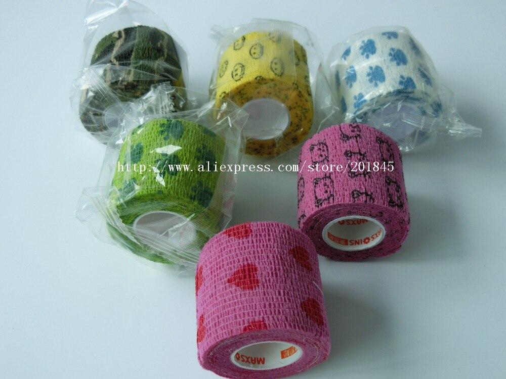 48Pcs 5cm x4.5m Cohesive Flexible Bandage Cotton Cohesive Bandage Sports Tape Mixed Color Self Adhesive Elastic Bandage