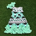 2016 new baby girls dress boutique dress green Aztec dress ruffle dress with headband