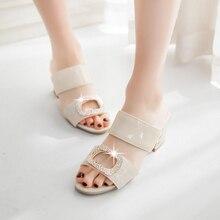 2016ฤดูร้อนลำลองผู้หญิงรองเท้าสีทึบตารางส้นโลหะตกแต่งสไลด์รองเท้าแตะรองเท้าเปิดขนาด33-45 T763