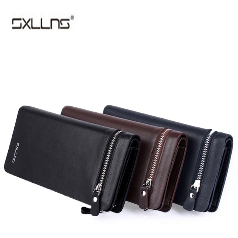 Sxllns Brand Men Wallet Genuine Leather Man Wallet Cowhide Purse Men's Credit Card Holder Business Mens Wallet Free Shipping  padieoe brand 2017 new men wallet genuine leather cowhide purse credit card wallet large capacity men s wallet free shipping