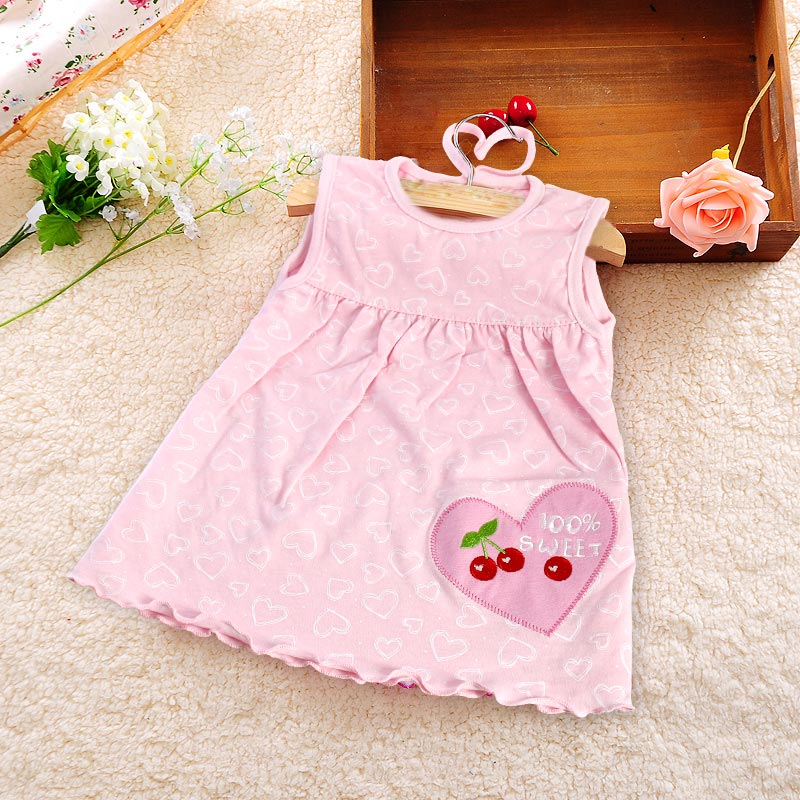 Monkids Summer Baby Girl Sleeveless Dress Princess Dot Newborn Striped Dresses Baby Girls Clothes with Animal Cartoon Floral