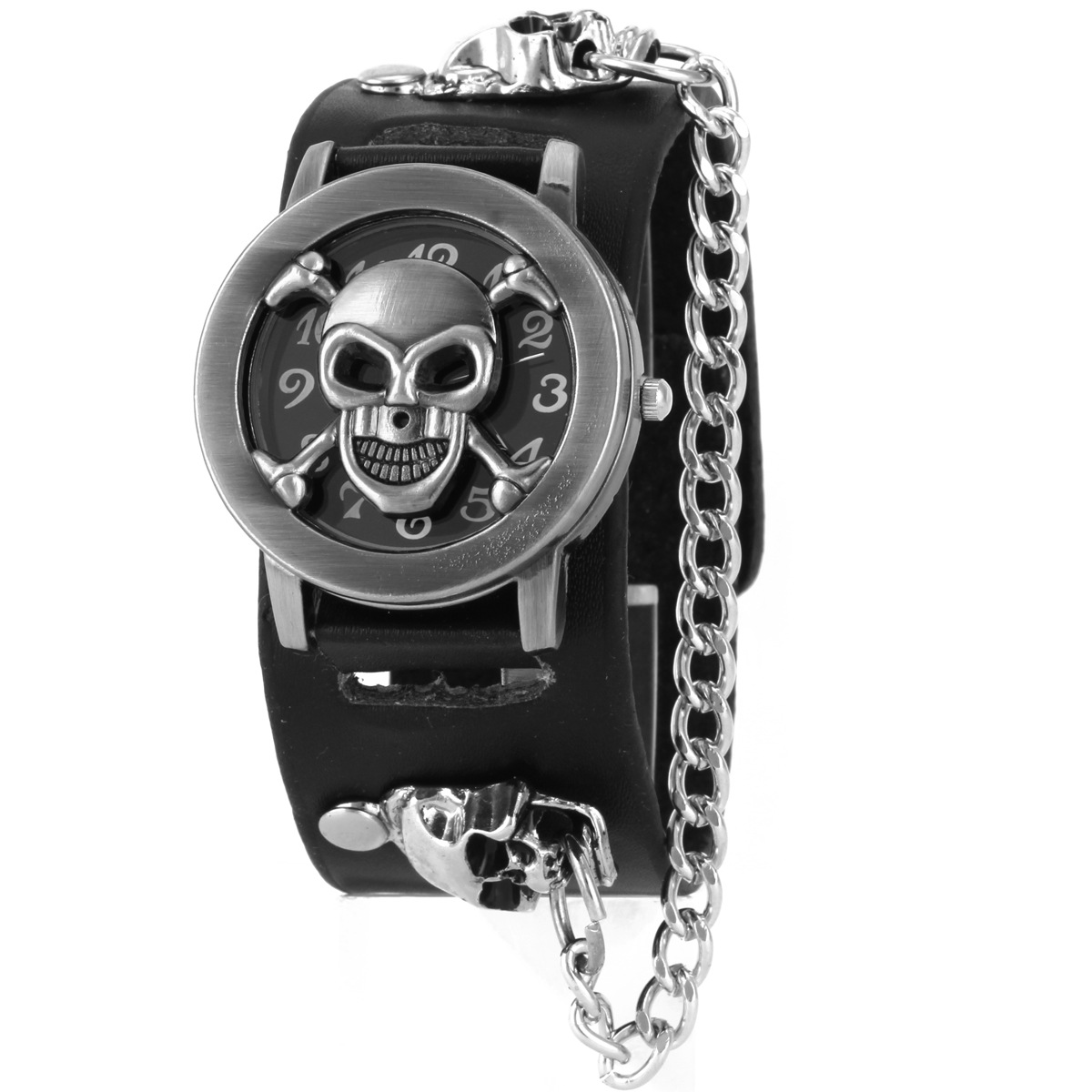 FUNIQUE Rock Punk Mens Watches Ladies Quartz Wrist Watch Unique Skull Clamshell Leather Strap Chain Casual Clock Male Masculino girl o clock rock подарочный набор