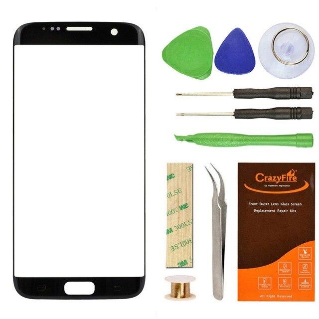 Топ Черный Стекла Ремонт Для Samsung Galaxy S7 Edge G9350 Стеклянный Объектив Замена Экрана Частей Заменить Инструмент Комплекты Стикер Crazyfire