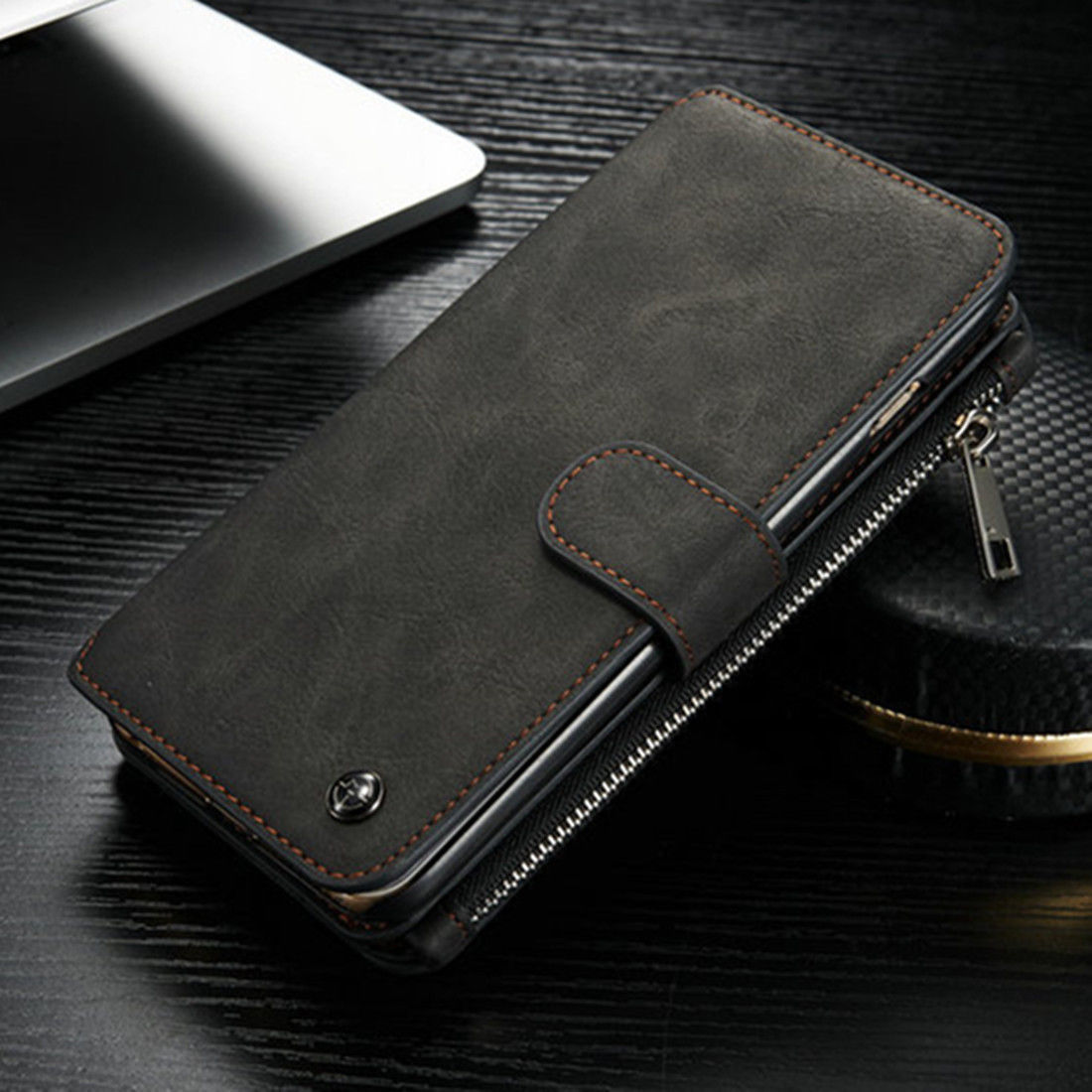 new arrival 07a1a 61b52 US $10.82 |Luxury Flip Leather Case For iPhone 7 5 6 6s Plus Zipper Mini  Man Purse Wallet Card Slot Holder Bag Cover For Samsung S6 S7 Edge-in  Wallet ...
