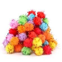 100PCS/Bag Wool Materials DIY Multicolour Jincong Bulb Gold Hair Ball Pompon Toys Handicafts For Kids