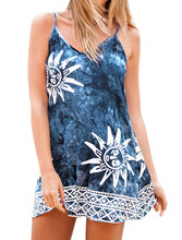 Allegra K Women Spaghetti Strap Geometric Sun Pattern Cami Dress