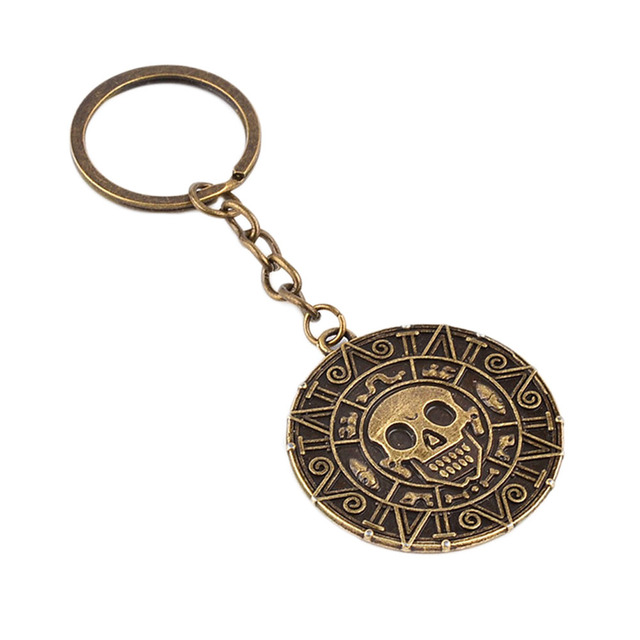 Hot Movie Pirates Of The Caribbean Keychain Vintage Skull Head Gold Skeleton Key Chain