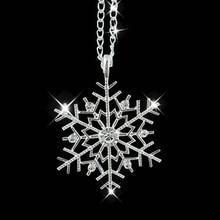 Fashion Frozen Snowflake Shiny Rhinestone Pendant Chain Necklace Christmas Gift