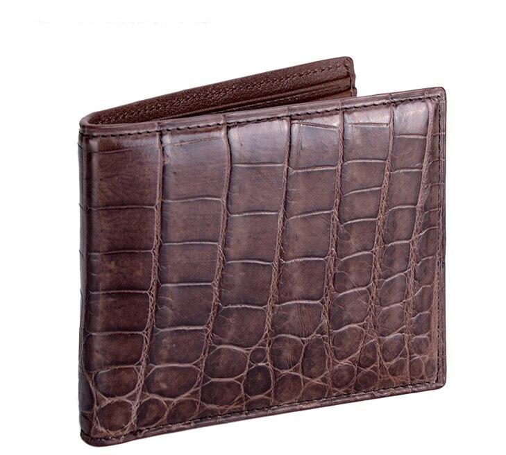 Luxury genuine real crocodile leather men wallet croco skin short wallet lucky john croco spoon big game mission 24гр 004
