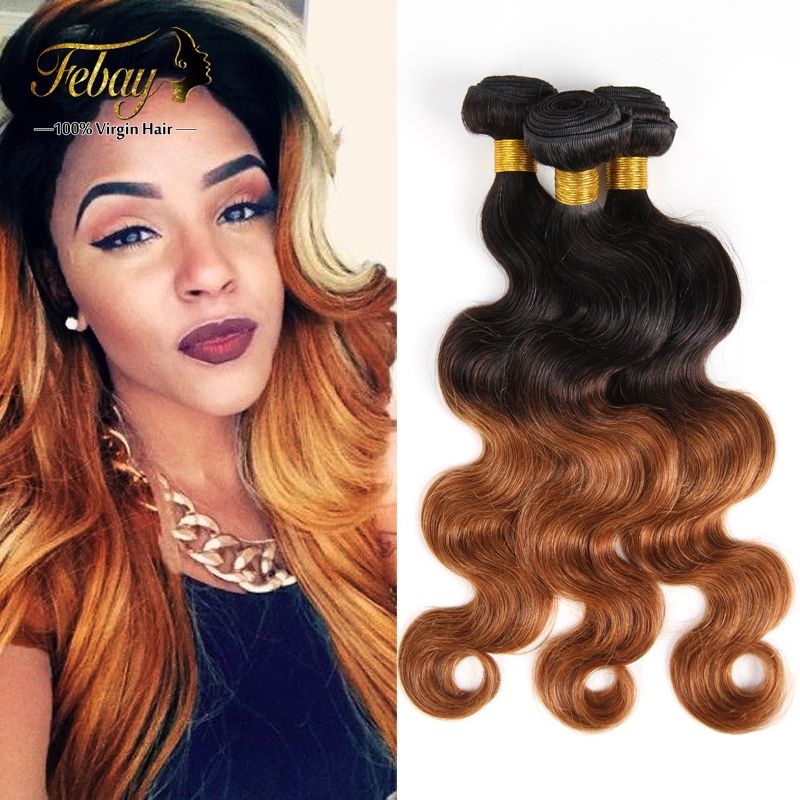 2015 Fashion Indian Ombre Virgin Human Hair Weave Body Wave Dark Brown Xuchang Febay Hair Weave Bundles Products Wholesale Price от Aliexpress INT