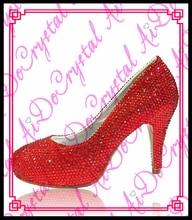 Aidocrystal Benutzerdefinierte Farbe Kristall Braut Roten Schuhe 10 CM Ferse