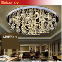 ZX Luxury K9 Crystal LED Ceiling Lamp Lustre Circular LED Chip Light Remote Control Double Color Livingroom Restaurant Lamp