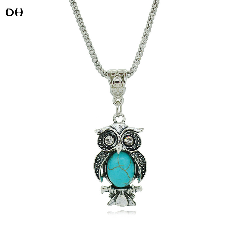 Special Owl Turquoise Necklaces Silver Pendant Accessories for Women Clothing Women's Vintage Style N1953