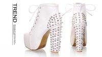 женская обувь с шипами и шипы черный белый весна осень панк искусственная кожа туфли на высоком каблуке для женщины