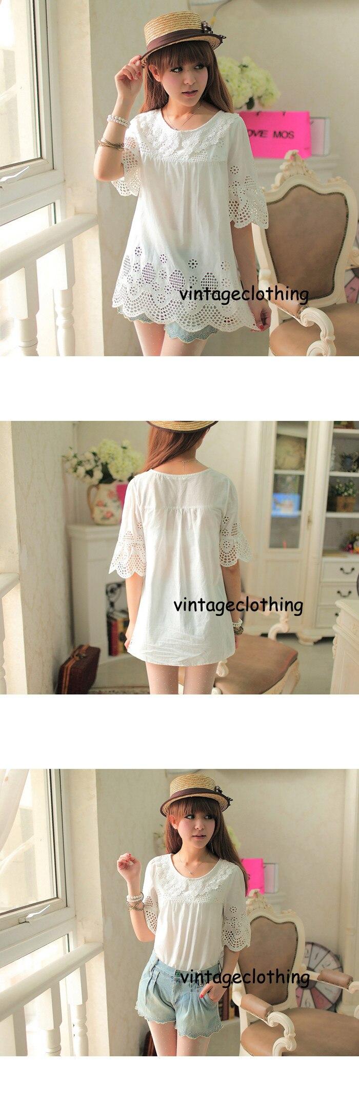 Vintage 70s Sheer Crochet Cut Out Embroidery Scallop Festival Blouse Dress Putih Renda A30554 62703 Detail 1