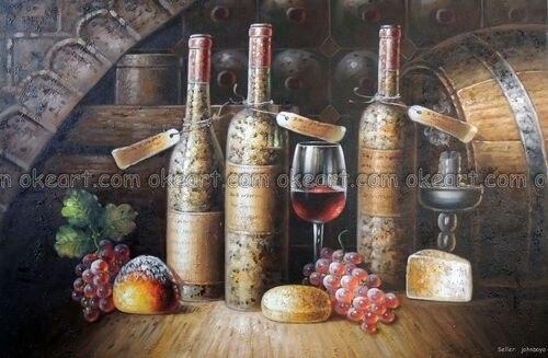 Ручная роспись винтажные винные бутылки стекло виноград хлеб сыр украшение живопись Высокое качество