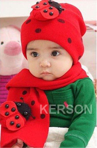 Free Shipping Very Cute Baby Hatsscarf Setsinfants Hatscarf Sets