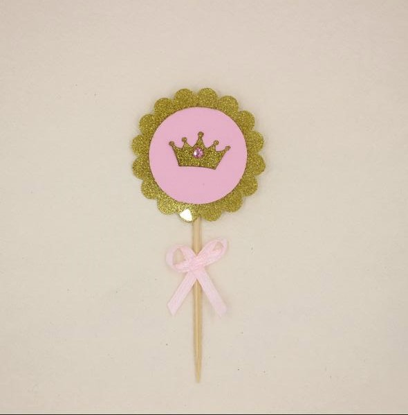 Glitter Gold Pink Crown Cupcake Toppers With Bow Rhinestone Girls Princess Birthday Party Decorations In Cake Decorating Supplies From Home Garden On