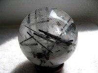 627g RARE NATURAL black Tourmaline quartz crystal sphere ball healing