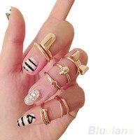 7 ШТ. Панк продвижение золотой цвет череп бантом в форме сердца ногтей умений среднего пальцев топ укладка кольца комплект для женщин 1o5n