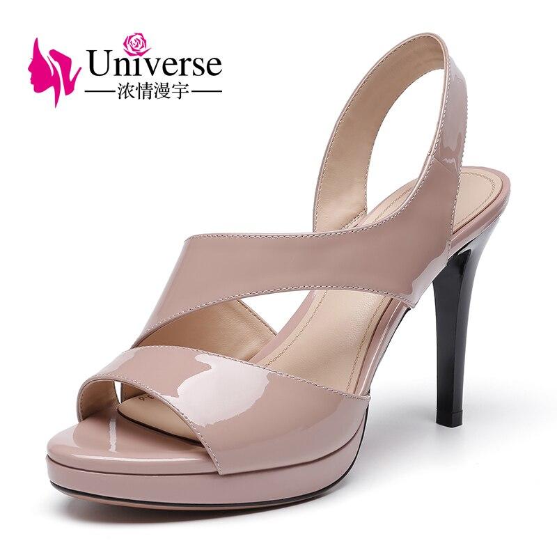 Universe sexy Sandals Fashion Gladiator Style Patent Leather Slim High Heel Women Shoe E119