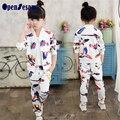Conjunto roupa de crianças Primavera outono de Algodão Meninas Roupas set Crianças 3 pcs Ternos Moda moda Meninas roupas conjunto Agasalho
