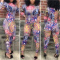 Fashion woman clothing 2016 sexy mesh Aztec printed jumpsuit plus size ladies jumpsuit