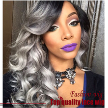 2016 Hot Selling Brazilian Body Wave Wig Two Tone Color #1B To Gray Synthetic Lace Front Wigs Heat Resistant Synthetic Hair Wigs
