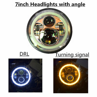 1 Piece 7 Inch Round LED Headlight With Amber Signal Halo Angle Eyes With DRL Halo