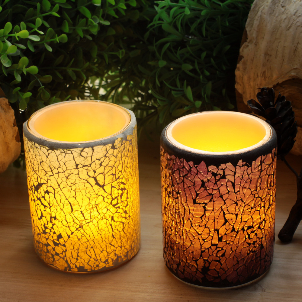 Battery-Powered Glass Mosaic Real Wax Flameless candle LED Candle with Timer, Home Party Decorations,3x 4 Inch