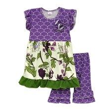 Printemps Desgin Enfants Vêtements Filles Boutique Ensembles Floral Swing Top Ruches Shorts Tricoté Coton Enfants D'été Tenues S045
