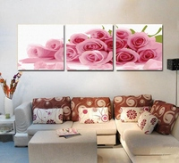 FUNIQUE 3PCs Pink Roses Modular Oil Painting By Numbers DIY Digital Wall Pictures Flower On Canvas