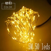 5M 50 Leds Copper Wire String Fairy Lights AA Battery Operated Outdoor Indoor For Christmas Holiday