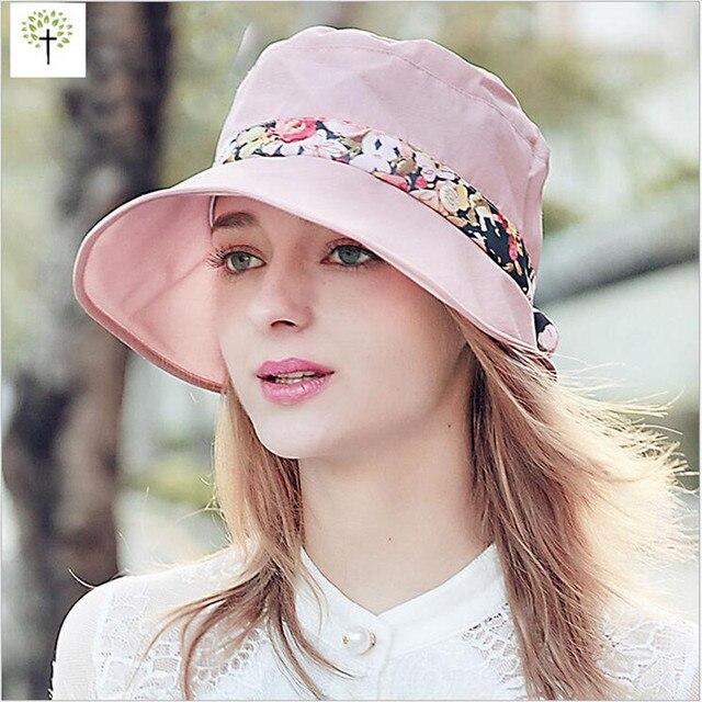 Primavera Verano Calidad Elegante Tela de Ala Ancha Sombrero Para el ...