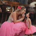 Новый Мать и Дочь Платья 2016 Прекрасный Розовый Кристалл Милая Маленькая Принцесса Девушки Театрализованное Платье Дети Пром Платья