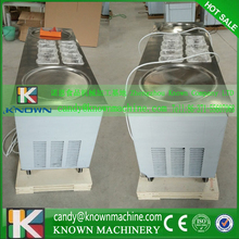 110V USA popular type double round pan fried ice cream machine to rolling ice with R410a