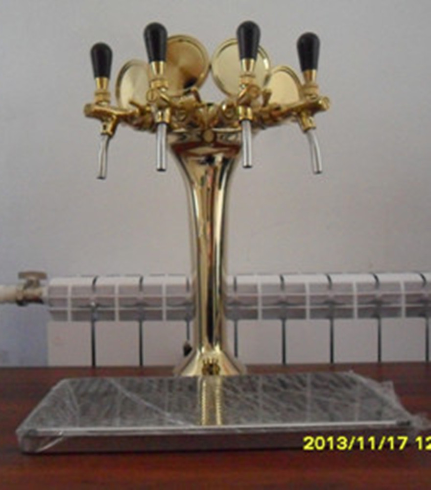 NEW Beer Tap Faucet Draft 4 Lines Golden Tower for keg Kegerator, bar counter beer tower unit
