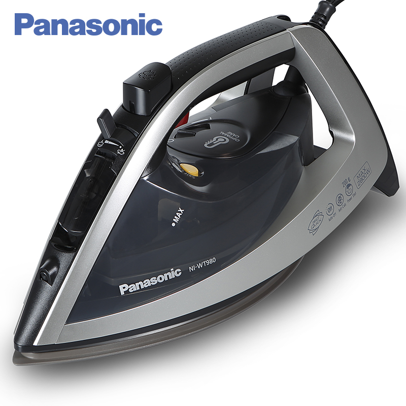 Panasonic NI-WT980LTW Steam Iron with ceramic nonstick soleplate electric steamer ironing machine household non-stick baseplate free shipping commercial non stick 110v 220v electric 4pcs belgium waffle maker baker iron machine