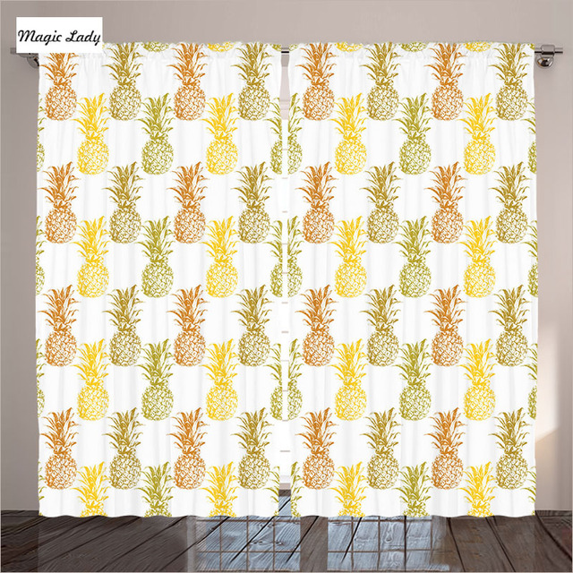 Kitchen Curtains Yellow Living Room Bedroom HandDrawn Stamp Sketched  Pineapples Pattern Gold White 2 Panels Set