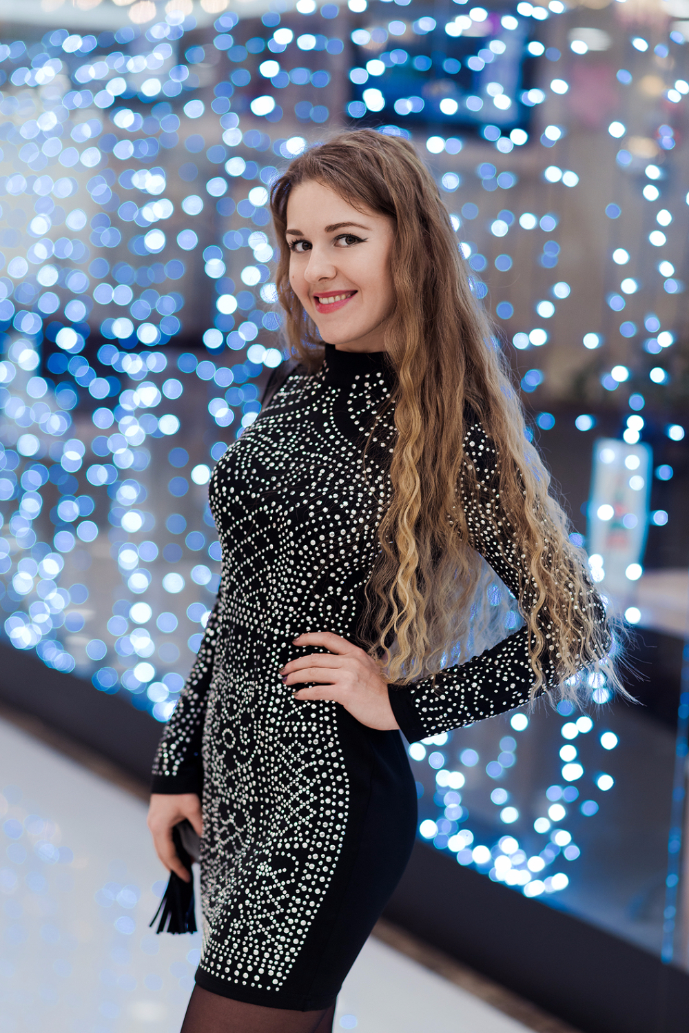 Free Shipping 2015 Sexy Geometric retro Rhinestone high-necked long-sleeved bodycon tight dress party dress FT2838