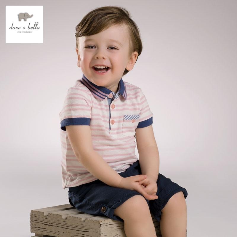 DB3780 dave bella yaz erkek bebek 100 pamuk t gömlek bebek giysileri - Çocuk Giyim - Fotoğraf 1